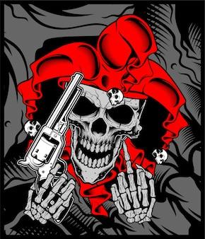 The joker's skull holds a gun.vector hand drawing.
