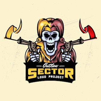 Joker skull esport logo design