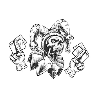 Joker skull with playing cards, isolated black and white  illustration on the white background.