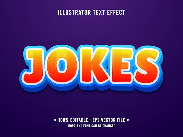 Jokes editable text effect modern style with gradient orange color
