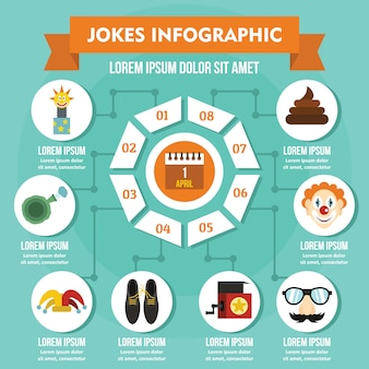 Jokes infographic concept, flat style