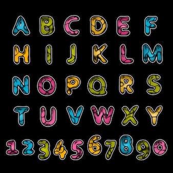 さまざまな色の肌の陽気なアルファベットのテクスチャ