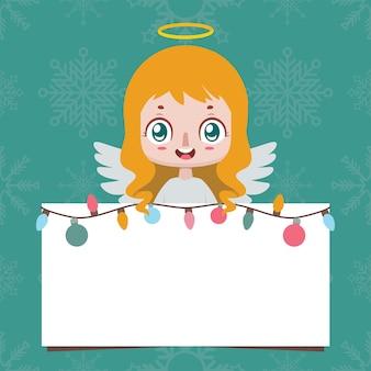 빈 기호를 들고 유쾌한 천사