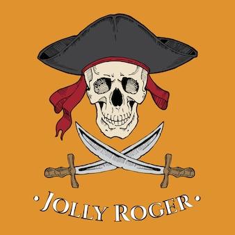 Jolly roger череп в взведенной шляпе с двумя лезвиями на желтом фоне