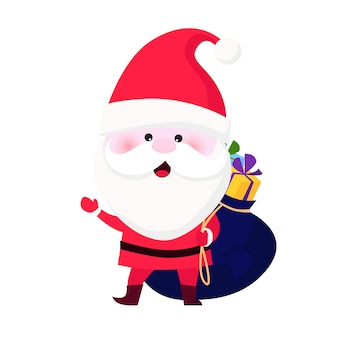 Jolly santa claus carrying sack of gifts