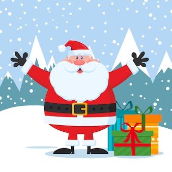 Jolly santa claus cartoon character