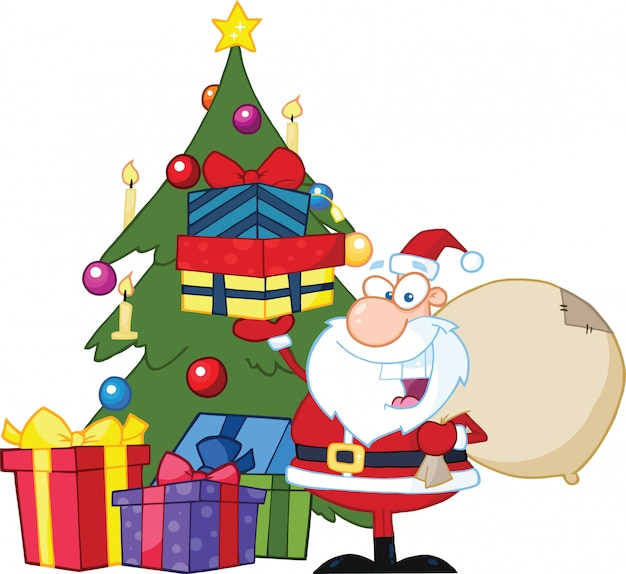 Jolly santa claus holding up a stack of gifts by a christmas tree.