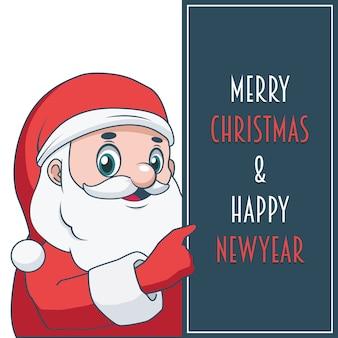 축제 텍스트와 사인을 들고 유쾌한 산타