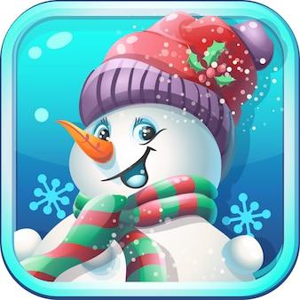 Jolly snowman in cap