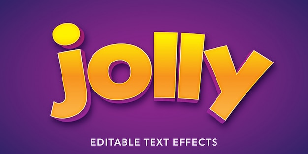 Jolly text 3d style editable text effect
