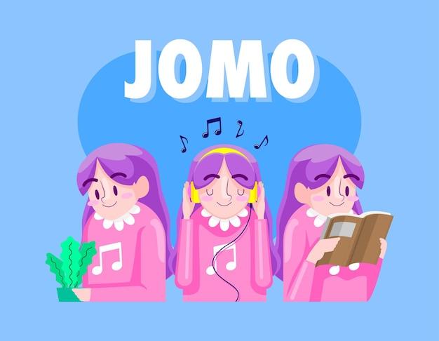 Jomo мультфильм иллюстрация, радость упустить