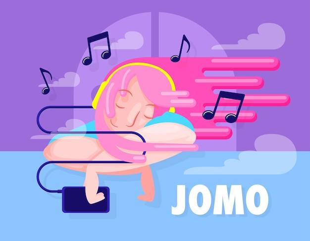 Иллюстрация концепции jomo, женщина, слушающая музыку