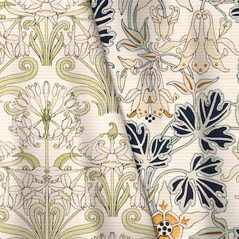 Jonquil 및 columbine 꽃 직물 패턴 벡터 디자인 리소스