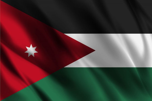 ヨルダンの国旗を振って抽象的な背景