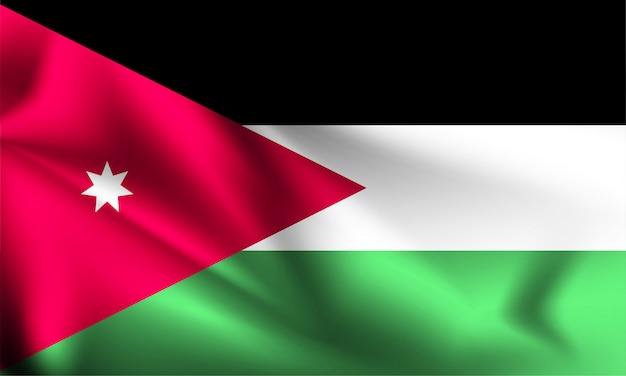 風、3 dイラストレーションと手を振っているヨルダンの国旗