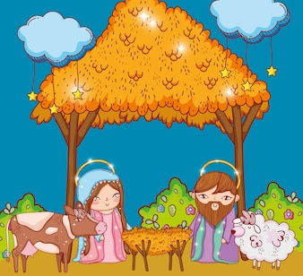 Joseph and mary in the manger cradle and clouds