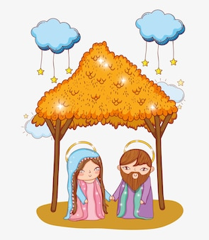 Joseph and mary in the manger with clouds stars