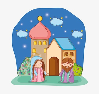 Joseph and mary together and house with clouds stars