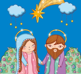 Joseph and mary with clouds stars and bushes