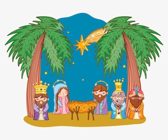 Joseph and mary with three kings and cradle
