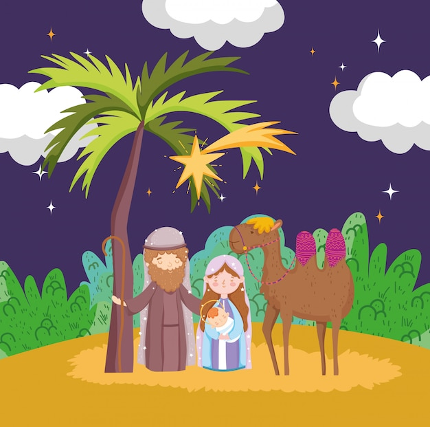 Joseph mary baby jesus and camel night desert manger nativity, merry christmas