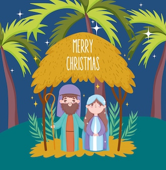 Joseph and mary hut palms manger nativity, merry christmas