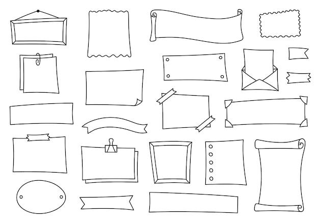 저널 및 일기는 낙서 스타일의 요소를 설정합니다. 노트북 및 달력에 대한 손으로 그린 만화 프레임