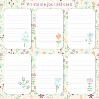 Журнальные карточки с цветочным дизайном.