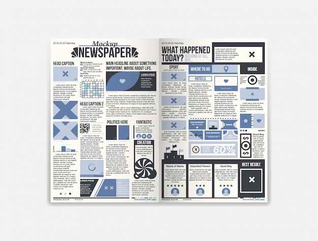 Journal newspaper template with fresh news