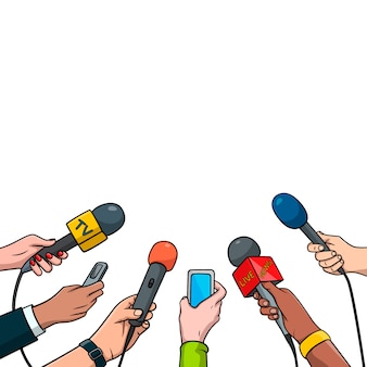Journalism concept  illustration in pop art comic style. set of hands holding microphones and voice recorders. hot news template, isolated on white background.