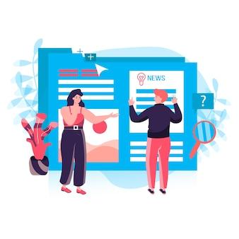 ジャーナリズムの概念。男性と女性のジャーナリストがオンラインメディアのニュースや記事を書いています。マスメディアのキャラクターシーンで活躍するコンテンツライター。人々の活動とフラットなデザインのベクトル図