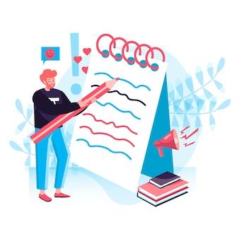 ジャーナリズムの概念。男性ジャーナリストはノートにメモを書き、オンラインメディアの記事を作成します。コンテンツライターの作業キャラクターシーン。人々の活動とフラットなデザインのベクトル図
