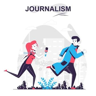 Журналисты изолировали мультяшный концептуальный журналист или папарацци, бегущие за мужчиной в сми