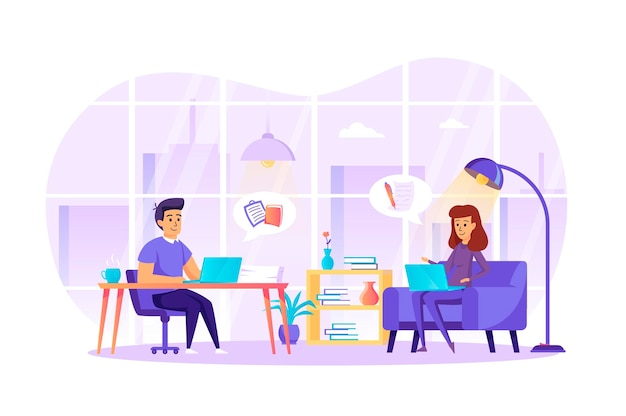 Journalism and journalist profession flat design concept with people characters scene
