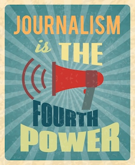 Journalism press news reporter profession poster with red megaphone and text