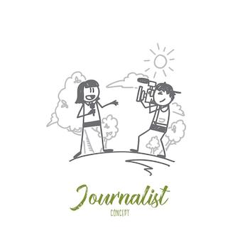Журналистская концепция. ручной обращается журналист и оператор. корреспондент, делая новости, изолированные векторные иллюстрации.