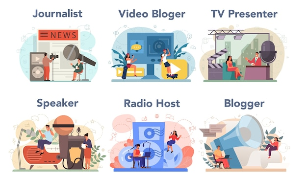 Набор журналистов концепции. газетная, интернет- и радиожурналистика. телерепортер, видеоблогер, радиоведущий, спикер. профессия сми.