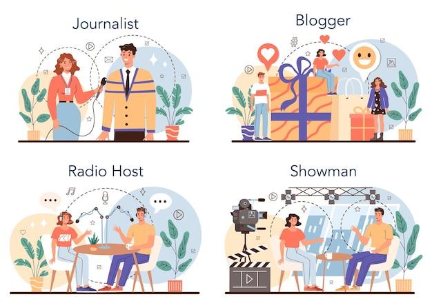 Журналистский набор концепции газета интернет и радиожурналистика