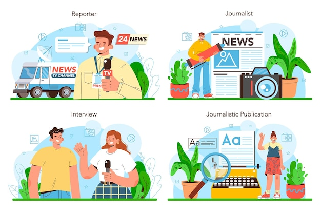 Journalist concept set newspaper internet and radio journalism tv reporter