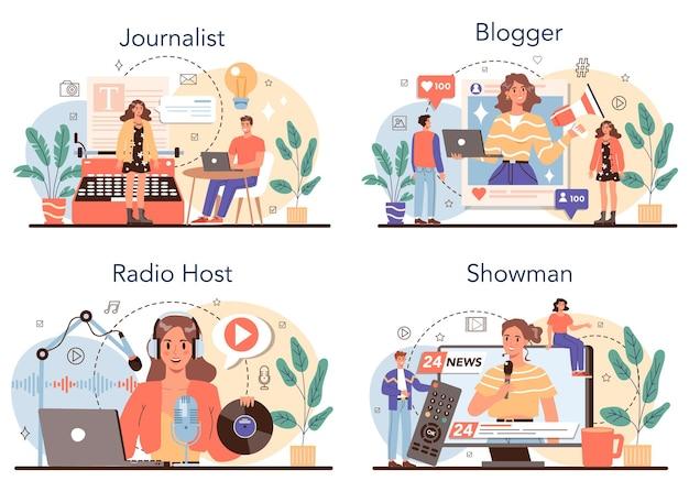 Journalist concept set newspaper internet and radio journalism