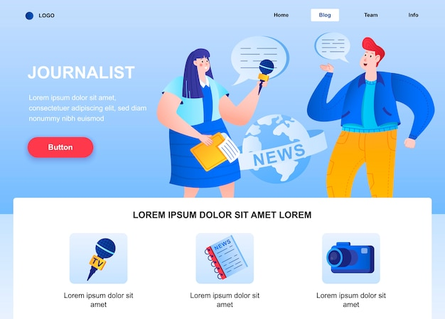 Journalist flat landing page. correspondent interviewing man web page.