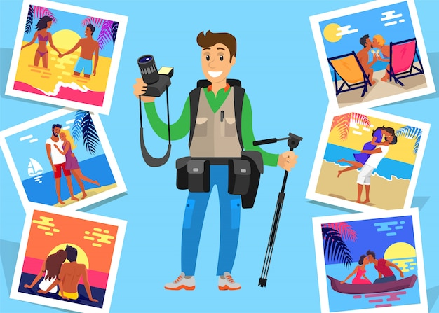 Journalist freelancer with tripod and pictures