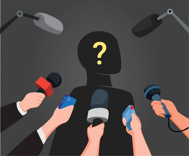 Journalist hands holding microphones performing interview with silhouette mysterious people in cartoon illustration