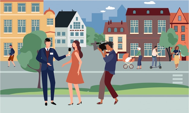 Journalist interviews celebrity illustration, cartoon man character with microphone interviewing celebrity woman on street