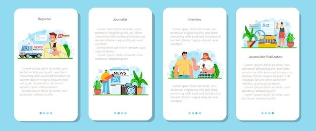 Журналист мобильное приложение баннер набор газет интернет и радио