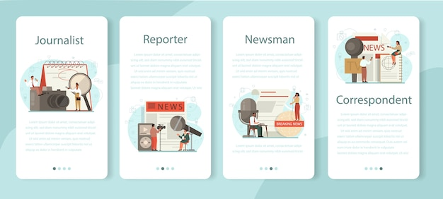 Journalist mobile application banner set. tv reporter with microphone. mass media profession. newspaper, internet and radio journalism. vector illustration in cartoon style