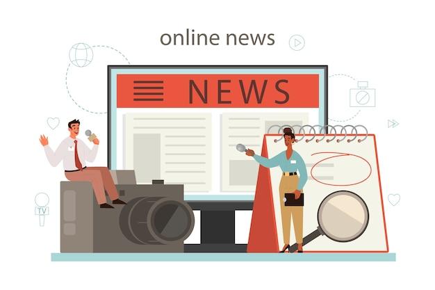 언론인 온라인 서비스 또는 플랫폼. 매스 미디어 직업. 신문, 인터넷 및 라디오 저널리즘. 온라인 뉴스. 만화 스타일의 벡터 일러스트 레이션