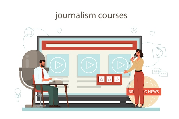 Journalist online service or platform. mass media profession. newspaper, internet and radio journalism. journalism course.