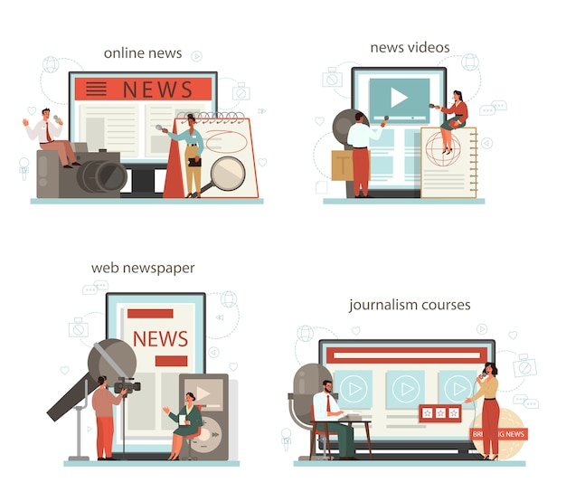 Journalist online service or platform set. mass media profession.