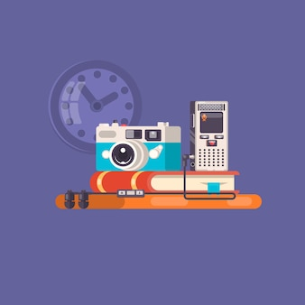 Journalist, paparazzi profession. journalist workspace with tools and devices.